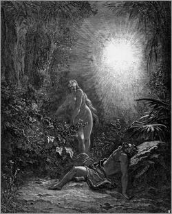 Adam et Eve chassés du jardin d'Eden. Gravure de Gustave Doré